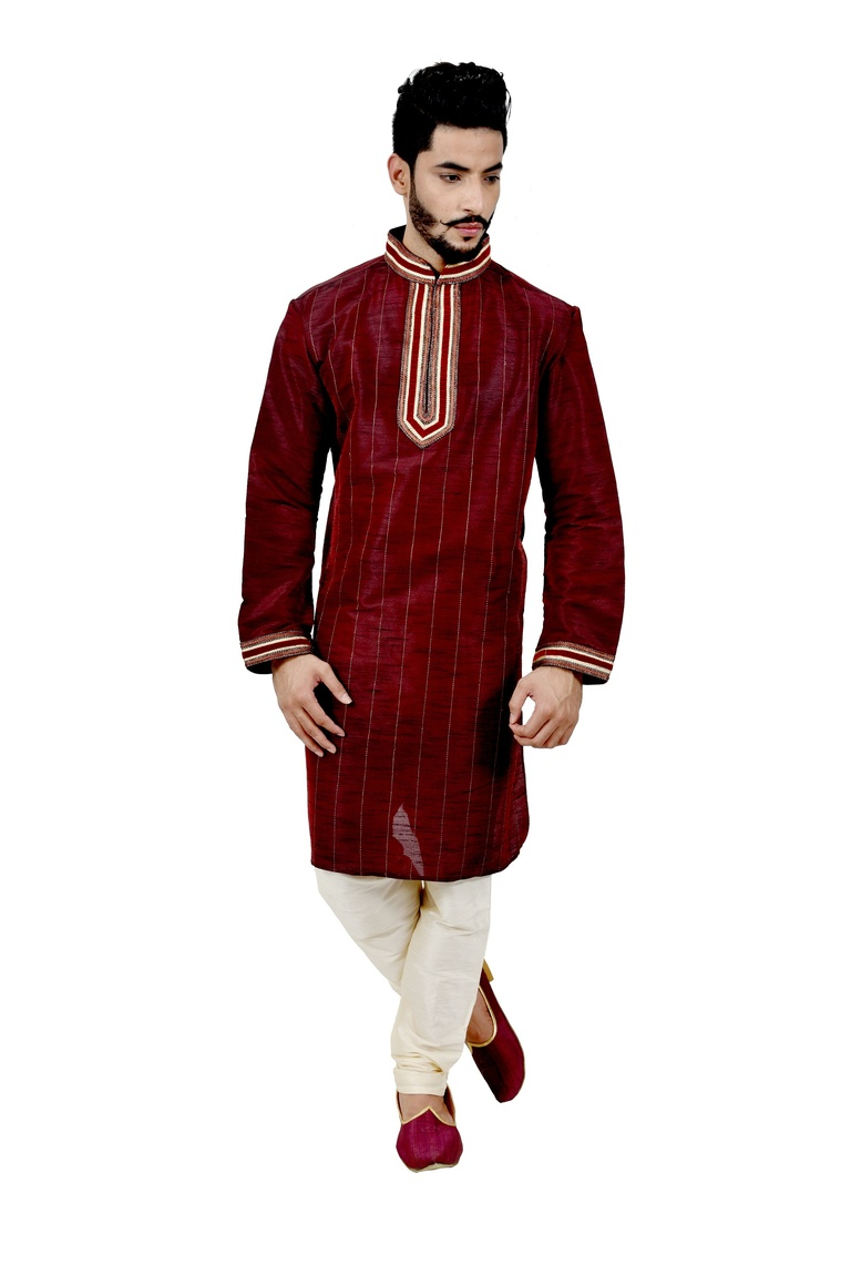 Maroon Artsilk Wedding Kurta Pajamaa