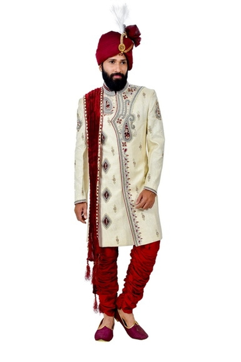 Online Cream And Maroon Sherwani