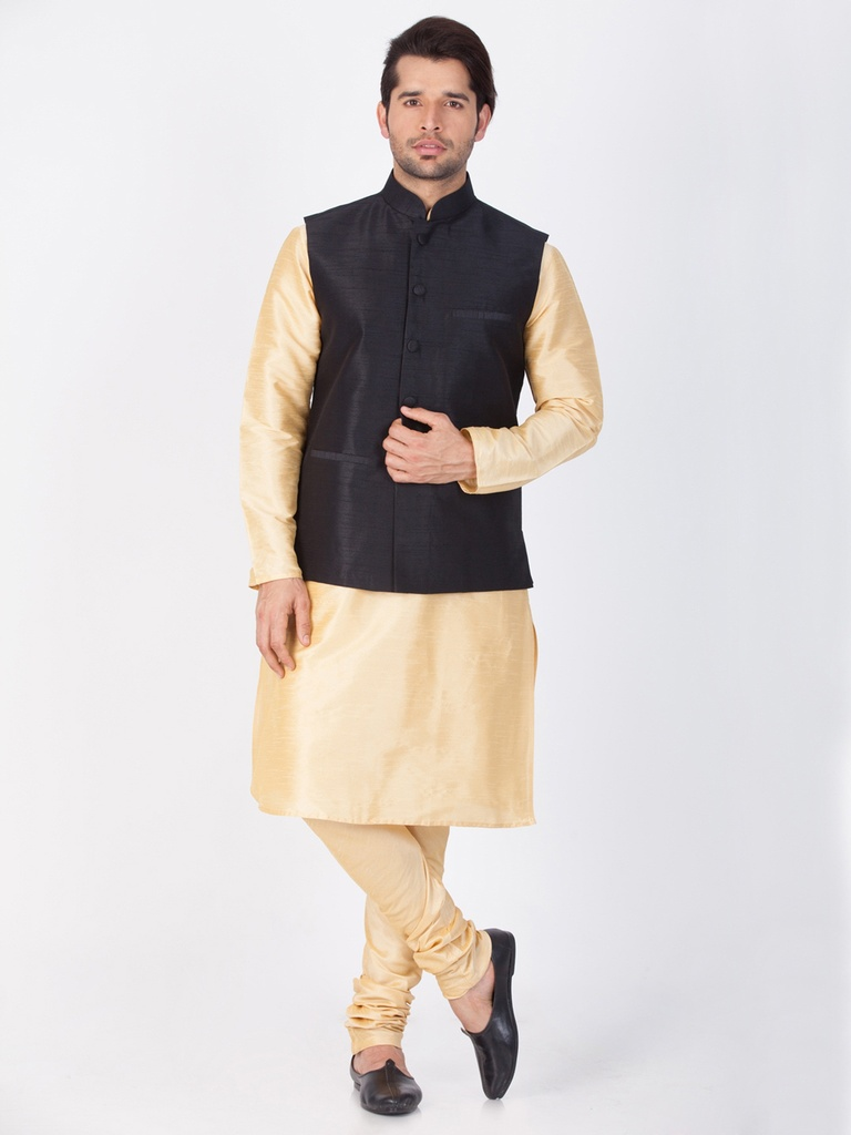 Gold Kurta Pajama With Black Jacket