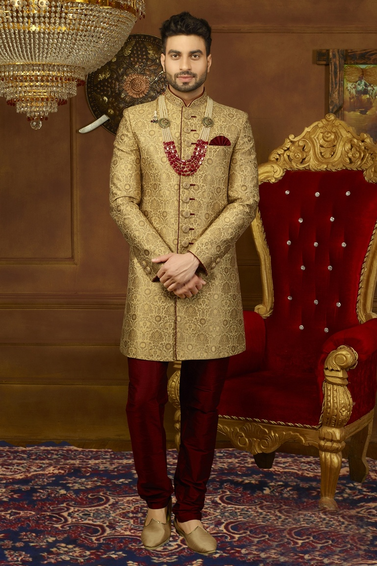 Stylish Embroidered Golden Indo Western Sherwani