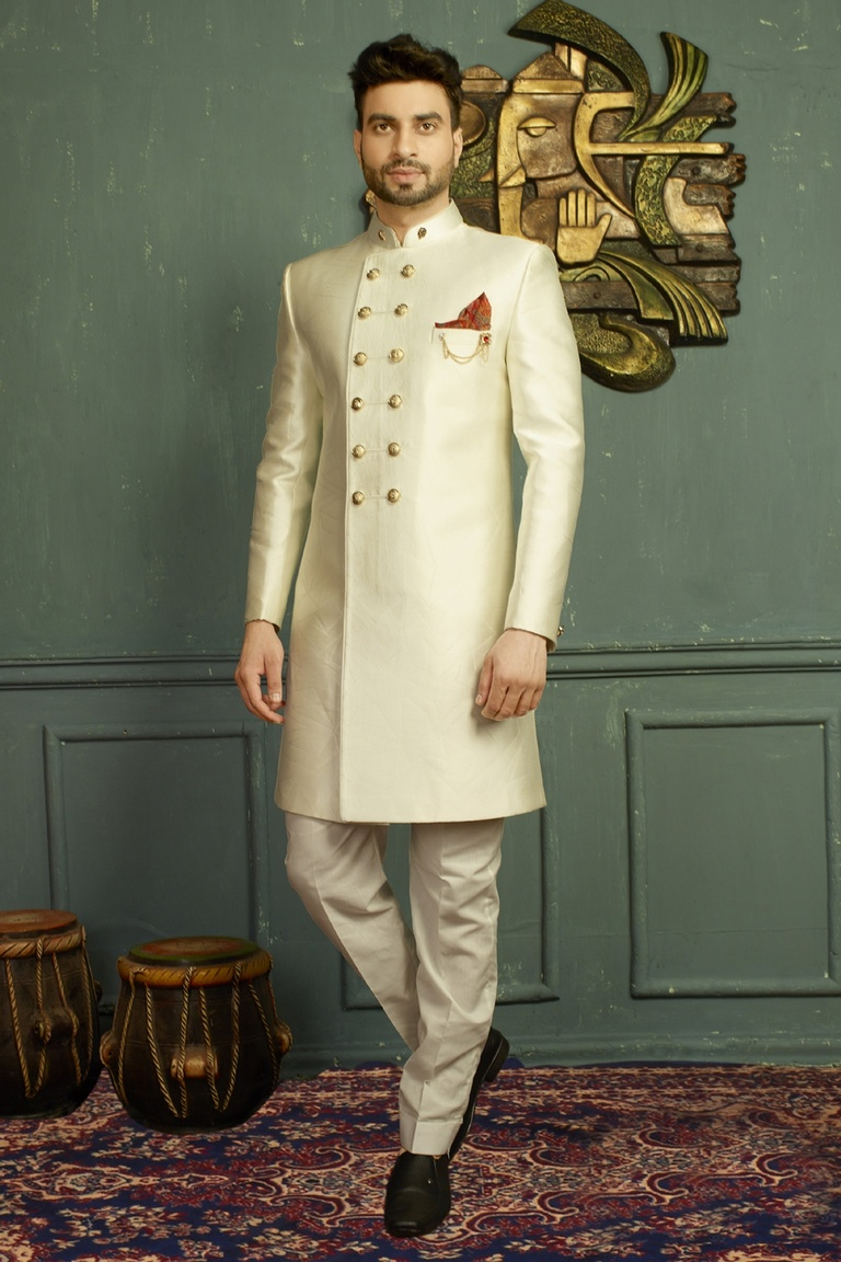 Contemporary Off White Indo Western Sherwani