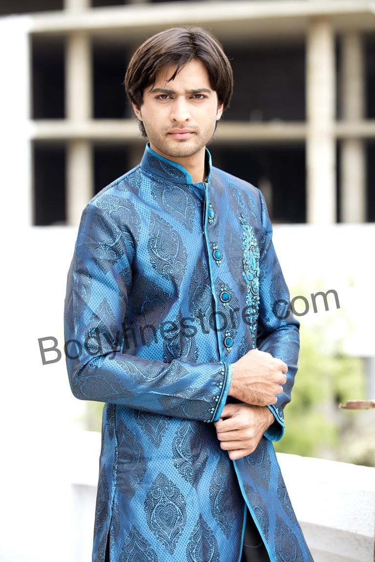 Bodylinestore | Products | wedding kurta | Blue Kurta Pajama BL1051