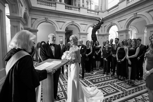 Couple Taking their vows in church captured by - Toronto Luxury Wedding Photographer