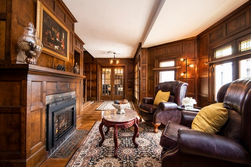 Living Room with Wood Panelling captured by Real Estate Photographer Markham - Matt Tibbo
