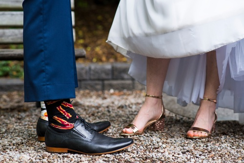 Wedding Couple Shoe details by Luxury Wedding Photographer Barrie - Matt Tibbo