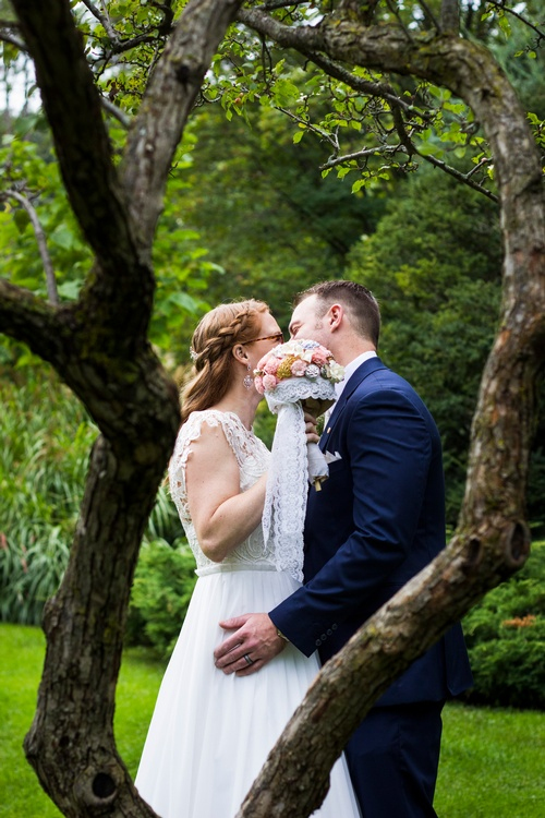 Bride and Groom Kissing Captured by Luxury Wedding Photographer Shelburne - Matt Tibbo