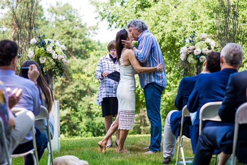 Bride and Groom Kissing Captured by Matt Tibbo - Wedding Photographer Shelburne
