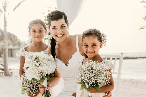 Bride Posing with the Flower Girls captured by Luxury Wedding Photographer in Toronto