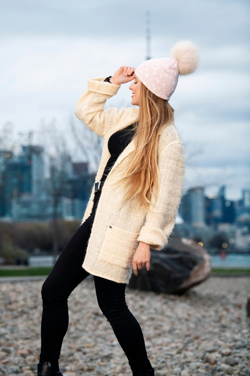 Young Model in Pink Wool Cardigan captured by Toronto Fashion Photographer - Matt Tibbo
