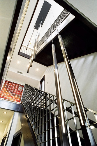 Manhattan Beach Residence Stainless Steel Laser Cut Staircase by DDG Design Studio Inc