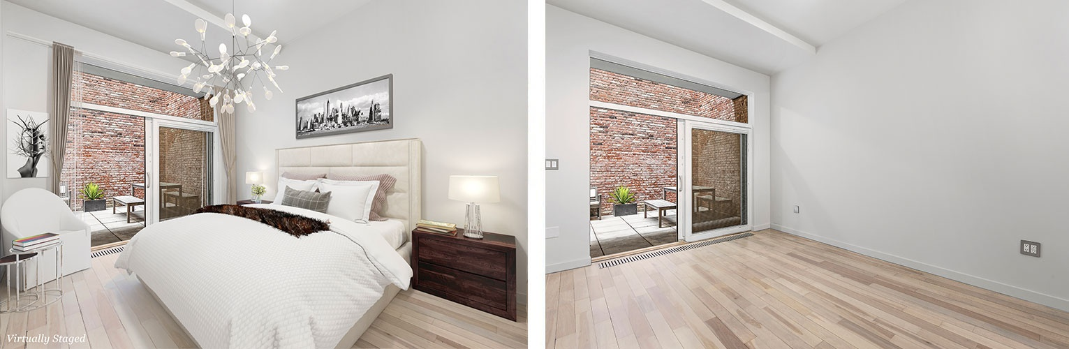 Bedroom Before and After Home Staging Chelsea, New York by DDG Design Studio Inc