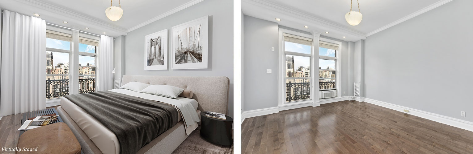 Bedroom Before and After Home Staging Services New York by DDG Design Studio Inc