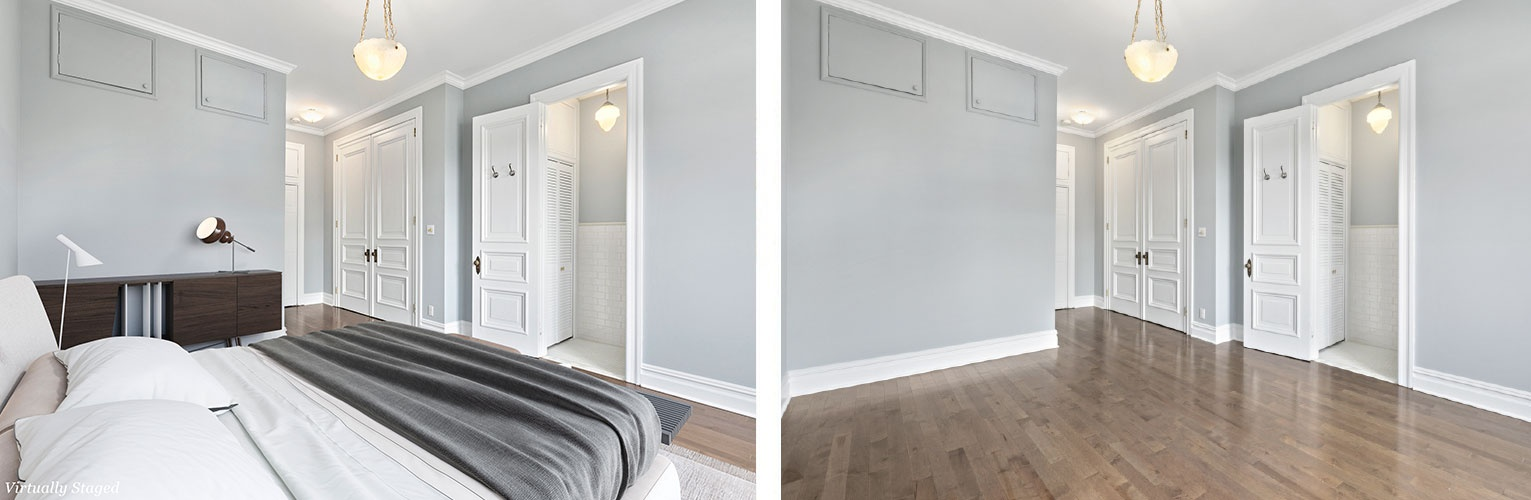 Before and After Bedroom Interior Furnishings Upper West Side, New York by DDG Design Studio Inc