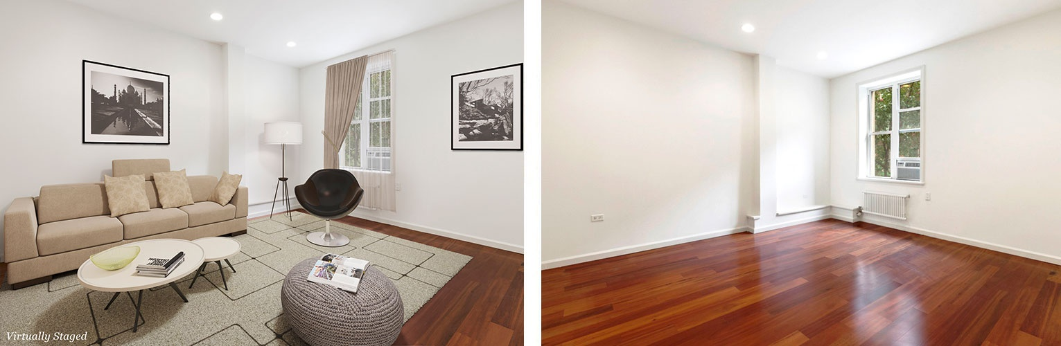 Living Room Before and After Home Staging Services Upper West Side, New York by DDG Design Studio Inc