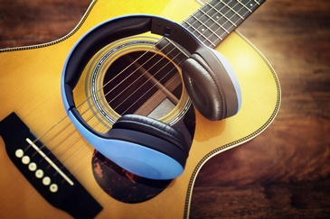 HeadPhones on Guitar - Portrait Photography Services Salem by OutSide Thinc