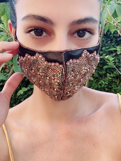 Bead Embroidered Face Mask in Black at Lakkota