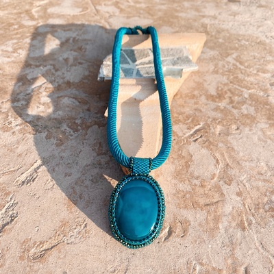 Teal Agate on Teal Necklace at Lakkota