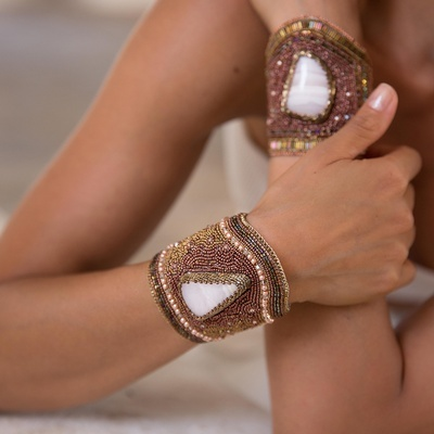 Laya Bracelet in Mangano Calcite - Crystal Beads Bracelets for Women at Lakkota