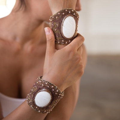 Laya Bracelet in White Scolecite - Buy Bracelets Online at Lakkota
