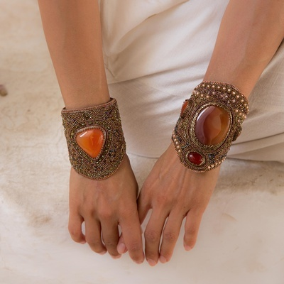 Lila Bracelet in Red Agate - Buy Women's Bracelets Online at Lakkota
