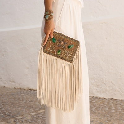 Lina Tassel Clutch Bag in Green -Buy Tassel Bags Online at Lakkota