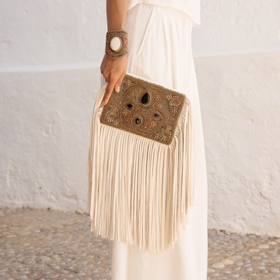 Lina Tassel Clutch Bag in Onyx - Embroidered Tassel Bags Online at Lakkota