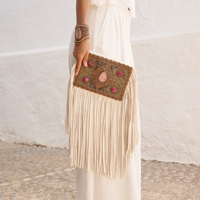 Lina Tassel Clutch Bag in Pink - Embroidered Tassel Bags Online at Lakkota