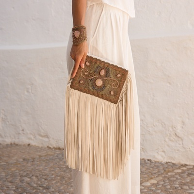 Lina Tassel Clutch Bag in Rose - Buy Embroidered Clutches Online at Lakkota