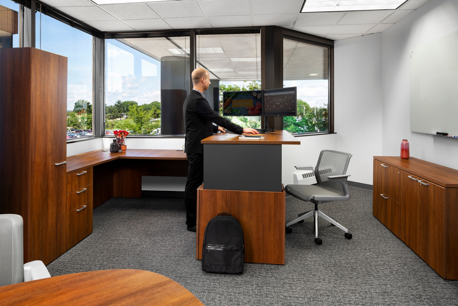 Private Office with Height Adjustable Desk