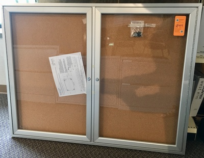 Used Ghent Enclosed Cork Bulletin Board with 2 Doors