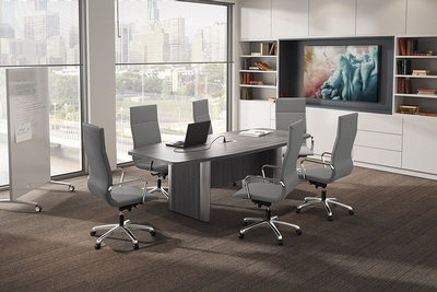 Boat Shape Conference Table with Silver Accent Bases and Power Module