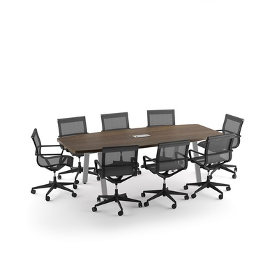 Boat Shaped Conference Table with Metal VA Legs
