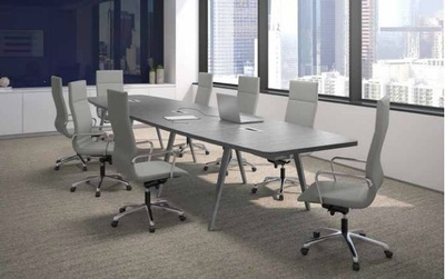 Boat Shape Conference Table with Wood VA Legs and Power Modules