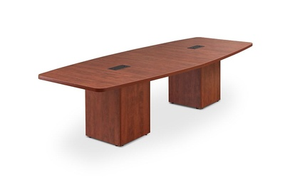 Boat Shaped Laminate Conference Table with Cube Bases