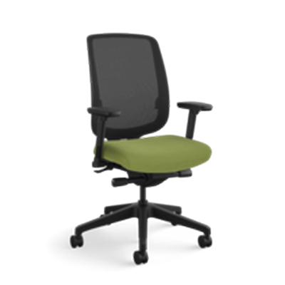 Allsteel Access Task Chair - Black Mesh Back with Green Seat