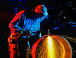 Welder-Worker Welding Steel Structure - Construction Photography Irvine by Great Art Studios