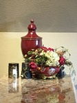 Decorative table vase Complimented with antique Accessories - Fort Worth Interior Decorating Services