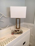 Stylish square Table lamp on White Console Table - Fort Worth Interior Decoration