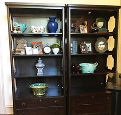 Display Cabinet with Artifacts - Residential Interior Design Denton County by Valentine Interior Design