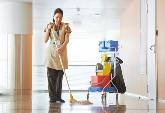 Lady Cleaning the Floor - Post Construction Cleaning Jacksonville by Benin cleaning services, LLC