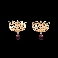 Eesha Zaveri - Filigree Lotus Earrings (Purple)