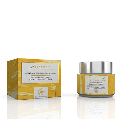 Ananda in the himalayas - Purifying Clay Mask- Sandalwood, Turmeric and Basil for Oily and Combination Skin