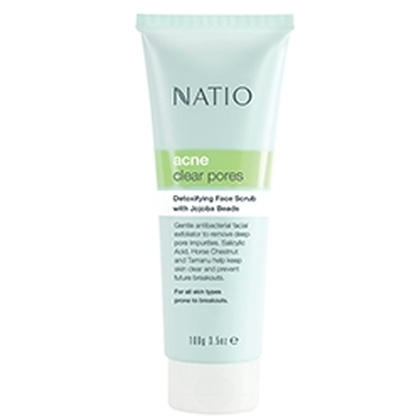 Natio - Acne Clear Pores Detoxifying Face Scrub with Jojoba Beads