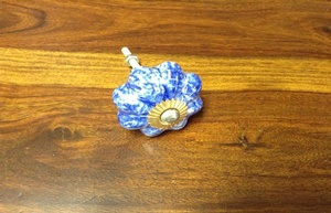 MORNINGSTAR - Door Pull-Painted Ceramic-Pumkin Shape-Blue with White Speckle
