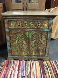 MORNINGSTAR - Cabinet/Sideboard-Carved and Painted-30w by 22d by 31h